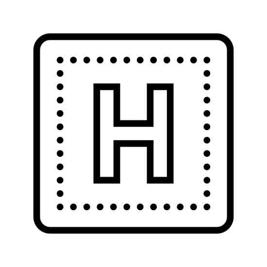 Больница 2 icon. The icon is shaped like a common square with four equal sides in length with very slightly curved corners. Inside of the square is a capitalized letter H placed directly at the center.