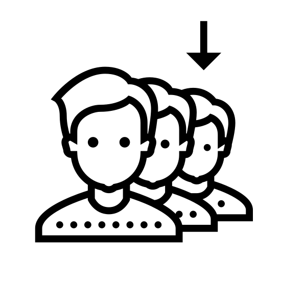Joining Queue icon. The icon is shaped like three identical silhouettes of humans the top of their heads to their shoulders. The first silhouette has a arrow above it pointing down. The other two are partially hidden behind the silhouette in front of them and the trail off to the right side.