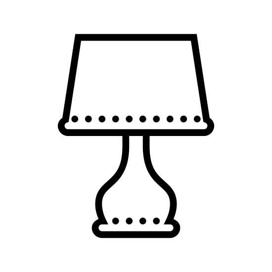 Lamp icon. It's a logo to represent a lamp.  The logo resembles a table lamp with a trapezoid shape lamp shade and a circular base.  The middle of the map is circular at the top and flows inward down into the base.