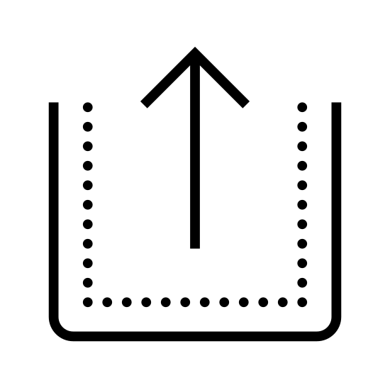 Poziom w górę icon. This is a square but the top line has not be drawn. Originating front the center and going up is a arrow who's bottom of its head is equal to the top of the sides of the square