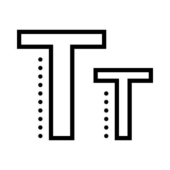 Lowercase icon. This is two letter Ts. The first one is a capital letter, it's a horizontal line intersecting a vertical line, with empty space between the lines of the letter.  The second letter is next to the first. It is shorter than the first by a third. It's a horizontal line intersecting a vertical with empty space in the lines of the letter.
