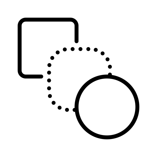 Metamorphose icon. This particular icon features three shapes that are lines up in front of each other.  The shape in the back is a square, the middle shape is a rounded square and the shape in the front is a circle.