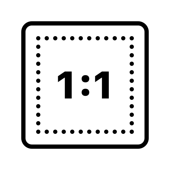 One To One icon. The image is a square. The top and bottom are a little bit longer than the sides of the square. The square has the number 1, a colon, and another 1 in the center. The numbers are not touching the edge of the circle.