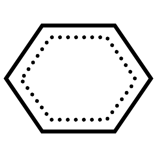 Wielokąt icon. The icon has six sides to it. Each side of the icon is equal in length and size. Each side of the icon connect to one another so the shape of it goes all the way around.