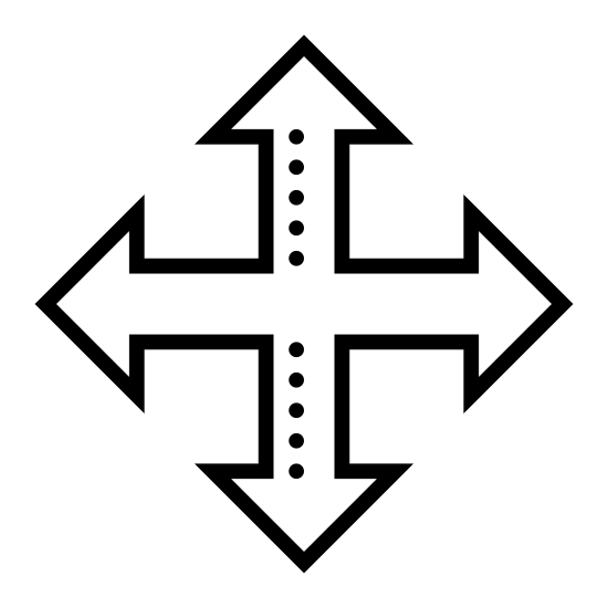 Drag icon. This icon consists of a cross drawn with equal length lines pointing up, down, left and right. At the end of each line are two smaller lines, forming ninety degree angles, giving the appearance of four arrows pointing in different directions.