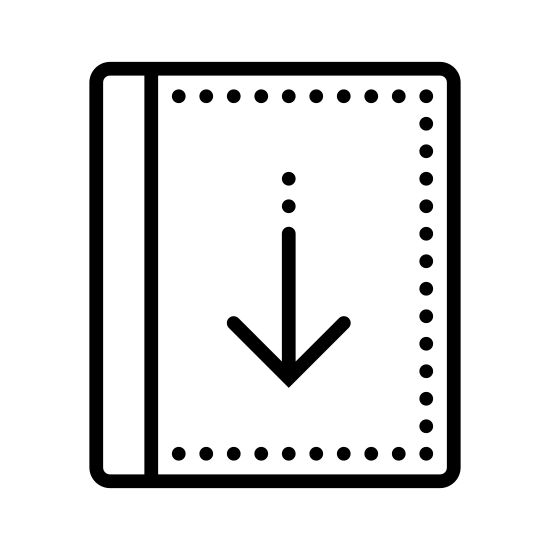 Zwrot książki icon. The icon is shaped like a square with a rounded top left corner and two pointed corners located at the top and bottom right. The bottom left corner curves off to form a long oval shapes that runs the whole bottom of the square but doesn't close on the right side.