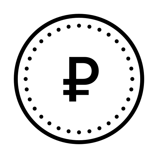Rubel icon. There is a circle with a shape inside. there is a p that has a horizontal line at the bottom stick of the P.it covers the majority of the circle