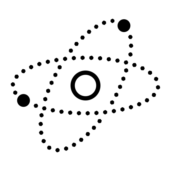 Satellites icon. The icon depicts three circular objects orbiting a planet, in this case Earth. The image is configured in the same way a neutron or atomic model is depicted, with three rings overlaying each other and the planet in the center of the rings.