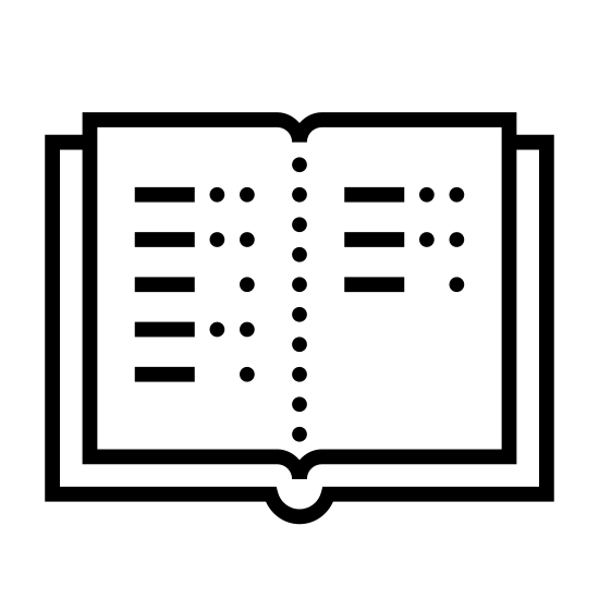 Sparbuch icon. There is a book open in the middle of two pages. On the left page there is four descending horizontal lines, and next to each line are some dots. On the right page there is three descending horizontal lines each with dots next to them as well.