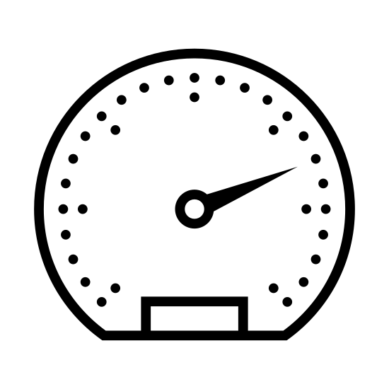 Speedometer icon. A line shaped a bit like a horse shoe. this shape has nine dashes. in the middle is a circle with an attached icon shaped like a thin triangle. this triangle is pointed at one of the dashes. the bottom of the icon has a rectangle
