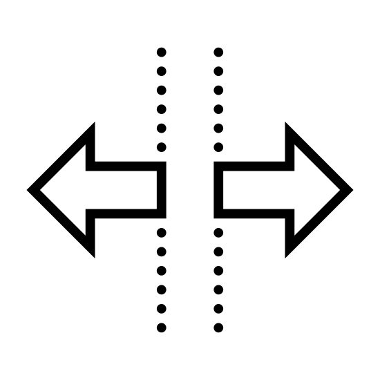Podział poziomy icon. There is two vertical lines of equal length. At the middle point of each vertical line is a horizontal line with an arrow head at the end going opposite directions.