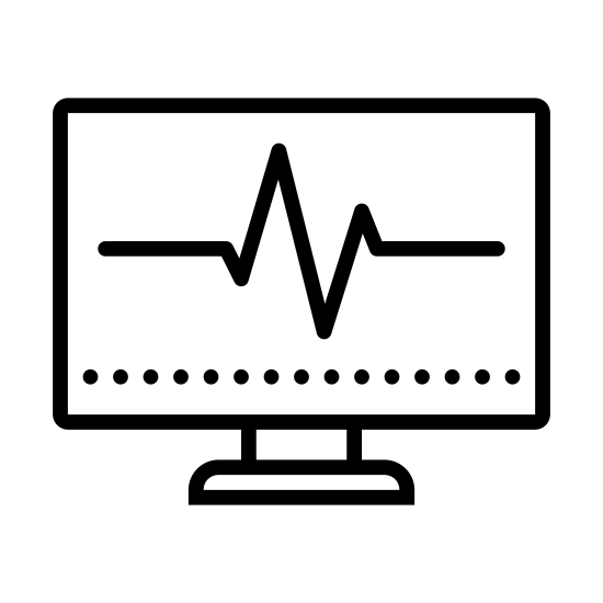 Systemaufgabe icon. There is a square computer monitor included a stand at the bottom. The monitor has a circular power button on the bottom right part of the square frame. On the screen part is a line similar to an EKG line going across horizontally, moving up then down then leveling out near the end on the right.