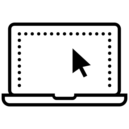 Produkty Technologiczne icon. There are two rectangles, one inside of another. There is a third much thinner rectangle at the bottom, together they represent a laptop. Inside the inner rectangle is a computer mouse cursor in the middle of the screen.