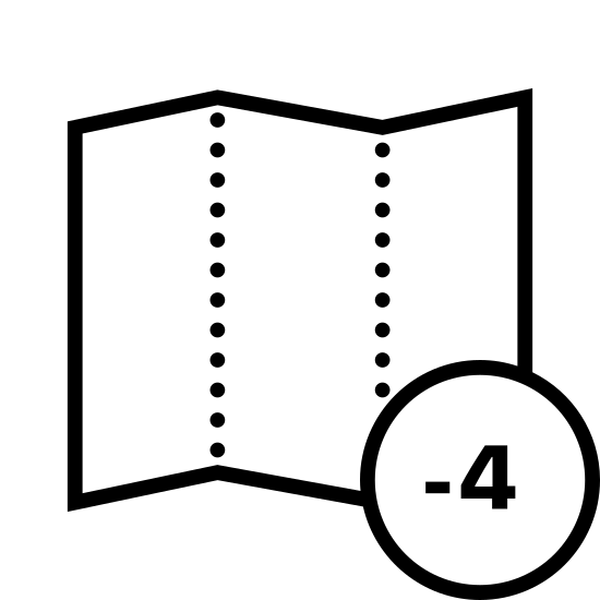 Strefa czasowa -4 icon. There is a rectangle with zig zag lines on the top and bottom in the shape of a half-folded out map. The rectangle has four columns of spared dots representing print and overlapping the one quarter of the rectangle in the bottom right corner is a circle with minus four inside of it.