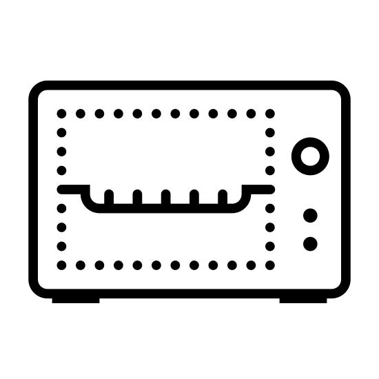 Toaster Oven icon. There is a rectangle that is longer than it is high with a smaller  rectangle that is longer than it is high off set to the left.  in the space created by the offset there are 3 black dots to represent buttons. inside the smaller rectangle there is a comb like drawling to represent a rack.