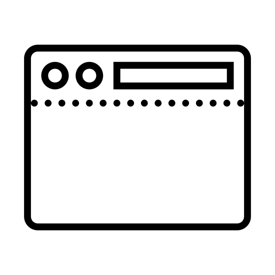 "导航工具栏顶部 icon. This ""navigation toolbar top"" icon consists of a rectangle. Three quarters of it extends from the lower portion upward. The third quarter has a line crossing horizontally. In the upper quarter are two small circles next to each other horizontally positioned to the left. To the left of the upper quarter is a small thin rectangle. It looks like a rectangle with two round buttons on top on the upper left and a long, rectangular horizontal on the upper right, with a dividing line underneath them."