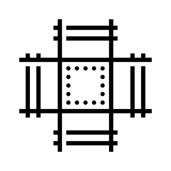 Intersezione di binari icon. This image is depicting a four way intersection of what appear to be railroad tracks. Each track is crosshatched and intersects at a point which is rectangular shaped and empty.