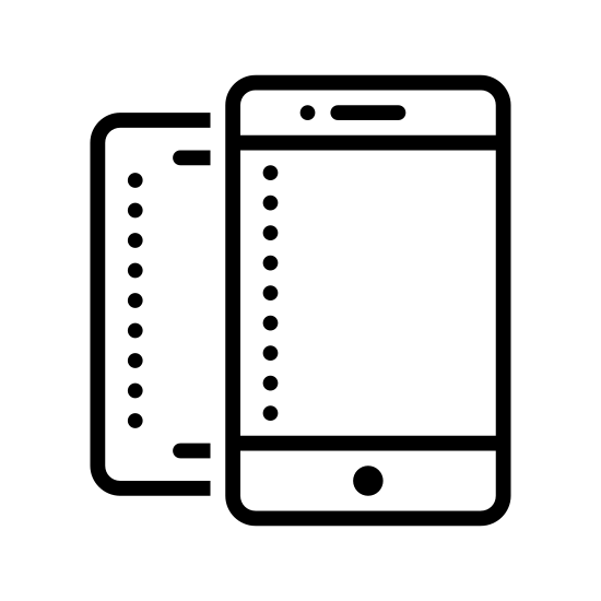 Dwa smartfony icon. The icon is shaped like two horizontal rectangles. Inside each rectangle are smaller rectangles that start at the top and end almost at the bottom right before meeting a dot and the bottom center. Both rectangles are the same size but the left one is partially hidden behind the right one.