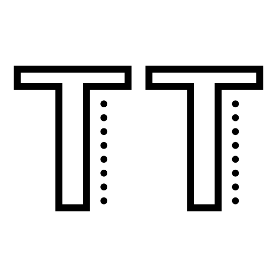 Uppercase icon. The icon is depicting two uppercase letter 'T's' side-by-side. There is a small gap in between each of the letters, and each letter is an outline of the letter, not completely filled in.