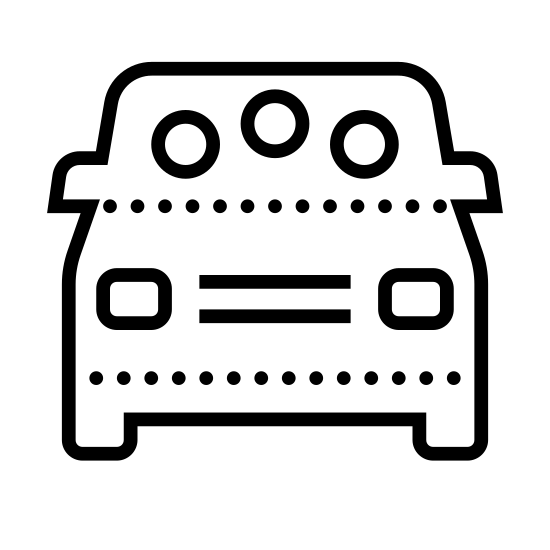 Vanpool icon. This is an image of a square or cubic structure standing on stout feet. There are two small rectangles on the front that appear to be buttons or displays.  Set in the top are several round holes.