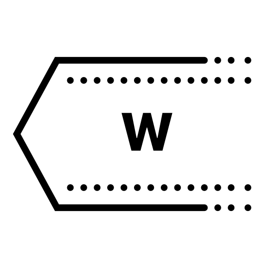 Zachód icon. It is a logo consisting of an arrow pointing to the left.  The right side of the arrow is not filled in, just a blank space.  Inside the arrow is the capital letter W.