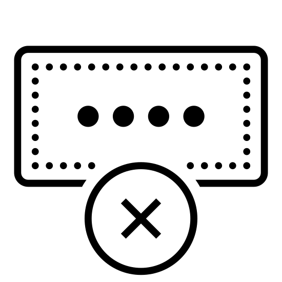 Wrong Pincode icon. The logo shows two shapes indicating that you entered the wrong code. The shape on top is a long rectangle with four small circles in it, such as the diagram you see when you type in a PIN at an ATM. The shape below it is a circle with an X through it, denoting that it is incorrect.