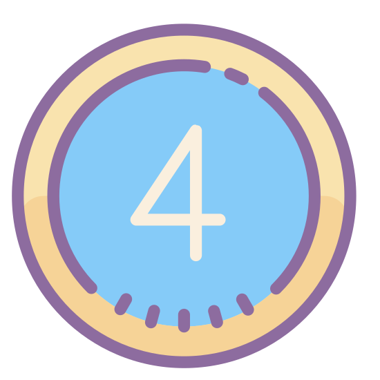Cerclé 4 icon. There is a number four in a san serif font. The number four has a circle around it. The number four is directly in the center of that circle.