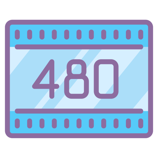 """480P icon. This is a picture of a piece of film with the numbers """"480"""" in the center of it. you can see the ridges of the film at the top and bottom of it. it is representing the quality of the film's picture"""