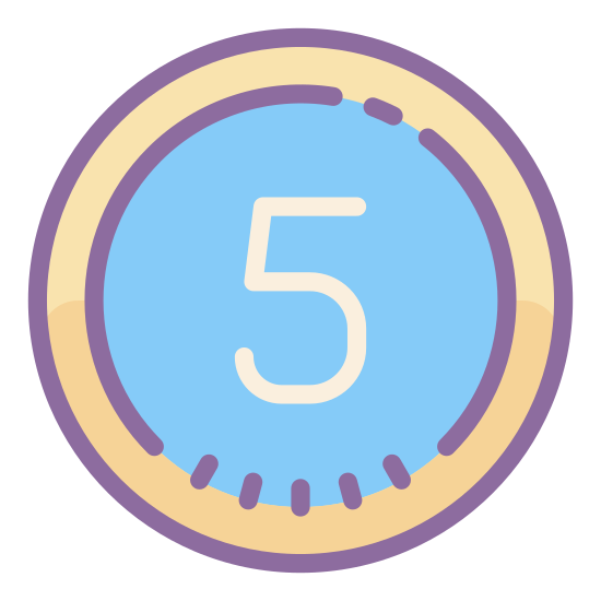 Circled 5  icon. It's a logo of Circled 5. It is pretty much reduced to the number 5. The number 5 is enclosed in a circular border.