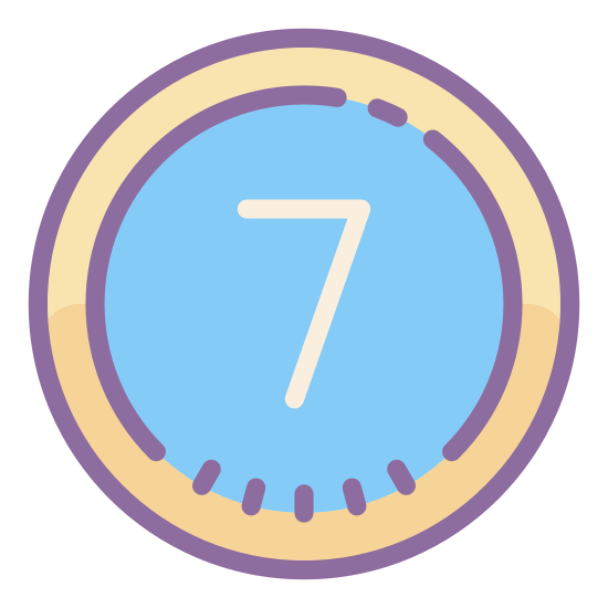 Eingekreiste 7  icon. A circle seven is a minimal logo. There is a perfect circle first drawn. Then seven placed inside the circle is about two thirds the diameter of the circle and placed right side up inside the circle.