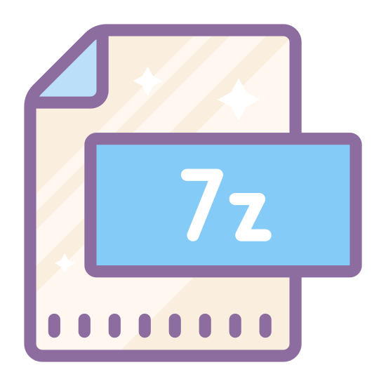 "7-Zip icon. There is a rectangle, that is long vertically. The upper right corner is folded down into a triangle, representing the paper being dog-eared. In the middle of the rectangle is the text, ""7z."""