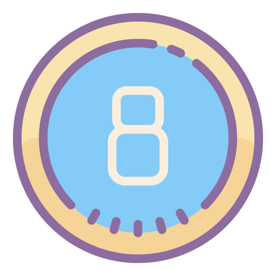 """Circled 8  icon. The object has the number """"eight"""" in the center of the image. The number """"eight"""" has a perfect circle surrounding the eight. It looks similar to the image on an eight-ball in the game of pool."""