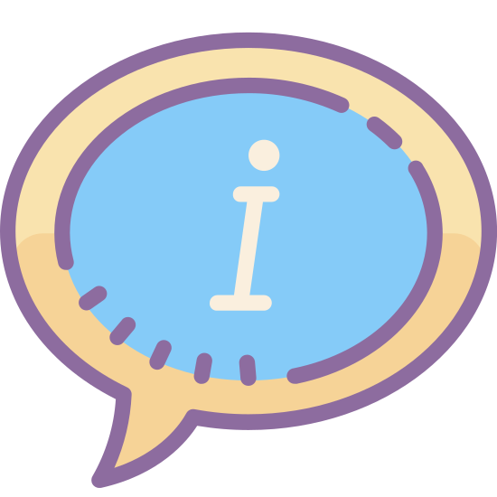 """About icon. It is a speech bubble with the letter """"i"""" in the center. The bubble is not an exact circle, but rather a horizontal oval. The letter """"i"""" is lower case, and one would think that by seeing this icon you would be informed about a certain topic presented with it."""