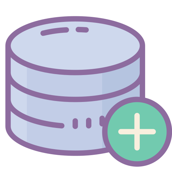 "Add Database icon. It's a drawing of a cylinder that is divided into three short cylinders stacked directly on top of each other. It's like the shape of a three layer cake. There is a plus sign inside of a circle that is placed over the bottom right of the cylinder to indicate, ""add database."""