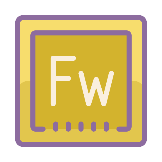 Adobe Fireworks icon. Its the logo for Adobe Fireworks reduced to the letters Fw. which is written in black and the background is white.  Capital F Lower-case w.  The logo is placed inside of a square.  This closely resembles a scrabble piece with the letter F followed by w