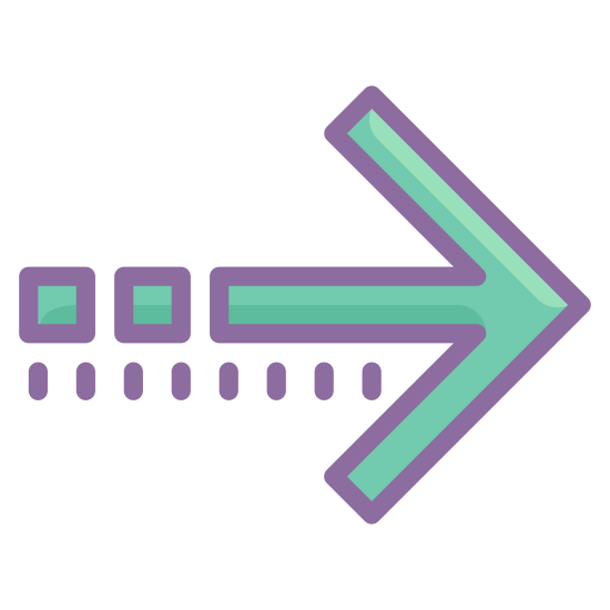 Advance icon. The icon is shaped like a horizontal arrow with the pointed end aiming towards the right. At the left of the arrow shape is a sequence of four horizontal dots that are lined up with the center of the arrow shape.