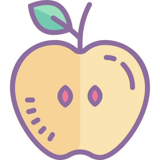Apple icon. The icon is a picture of an apple. The icon has a stem on the top with a leaf coming out of the right side of the stem. The apple would appear to be cut in half, as there are what appears to be two seeds in the middle of the icon.