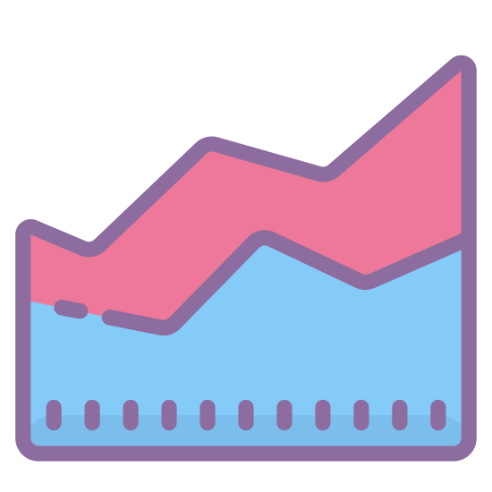 Area Chart icon. The area chart has a flat bottom with two sets of line going up and down. The top set of lines has dots interspersed throughout to indicate that it measures something different than the bottom set of lines.