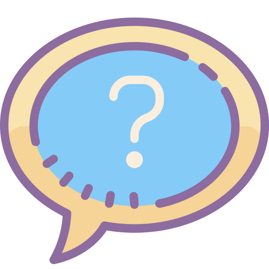 Ask Question icon. The icon is shaped like a circle but towards the bottom left side it curves outwards to form a point. In the inside of the circle shape is a question mark directly placed at the center.
