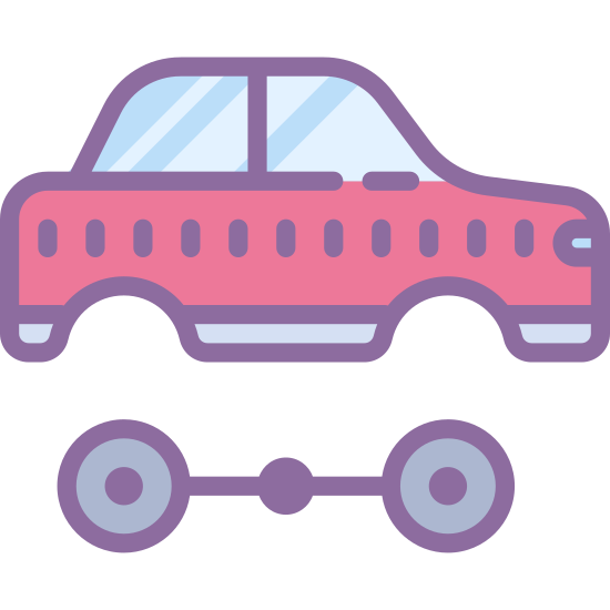 Automotive icon. The icon is a small car with the wheels missing. Right below this car is two wheels and it looks to be separated from the car. The wheels are joined together by a long rod.