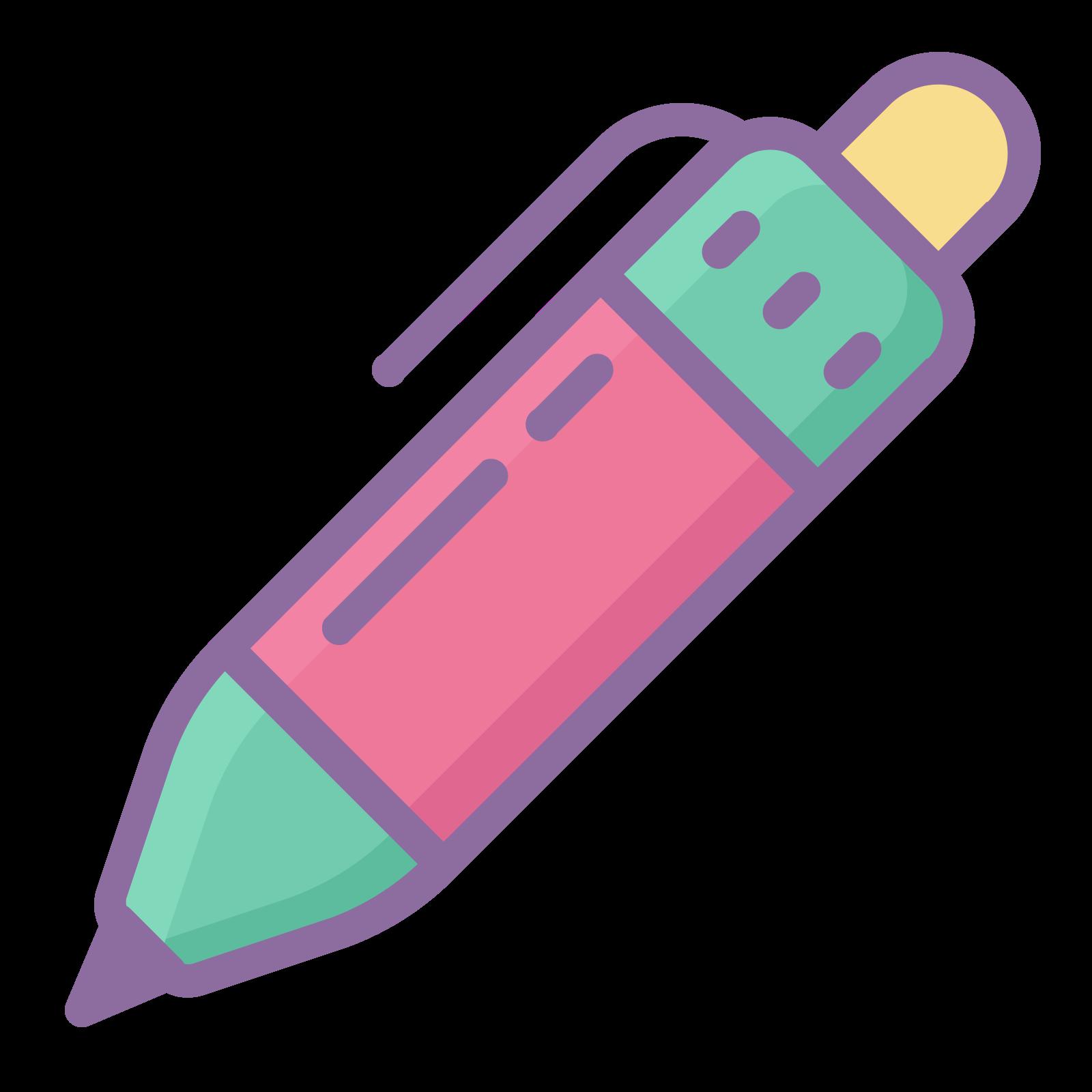 ボールペン icon. It is cylinder in shape.  It has a clip on its side to clip onto a notebook or shirt pocket.  It also has a button on the top you press to dispense the nib to write with.