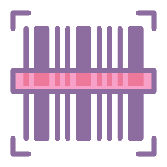 Barcode Scanner icon. The barcode scanner is a rectangle with lines in and outside of it.The lines are meant to be going over the rectangle, like a cashier would swipe a barcode over the scanner.