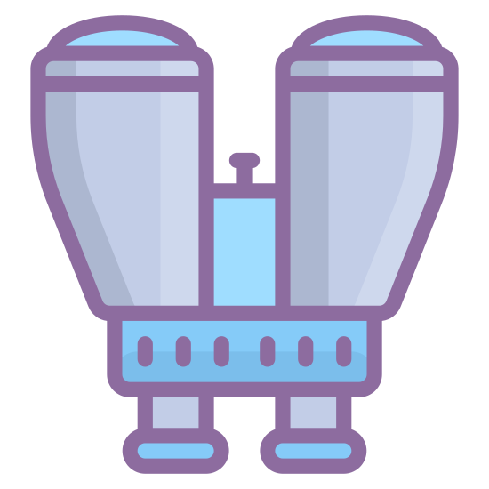 Binoculars icon. The image is depicting a perfectly symmetrical pair of binoculars. There is a circle in the middle of the binoculars where they would typically fold in, and highlights on each lens of the binoculars indicating they are glass.