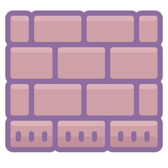 Blok icon. This is a picture of a brick wall that is three layers high. the bricks are all stacked in a pattern so that they do not match. it is showing that it's a block wall
