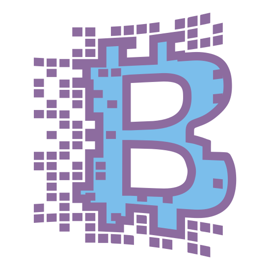 Blockchain icon. This is an image of the capital letter B.  Around the capital letter B are multiple miniature squares going above, to the side, and underneath the letter.  There are also some squares that are on top of the letter B.