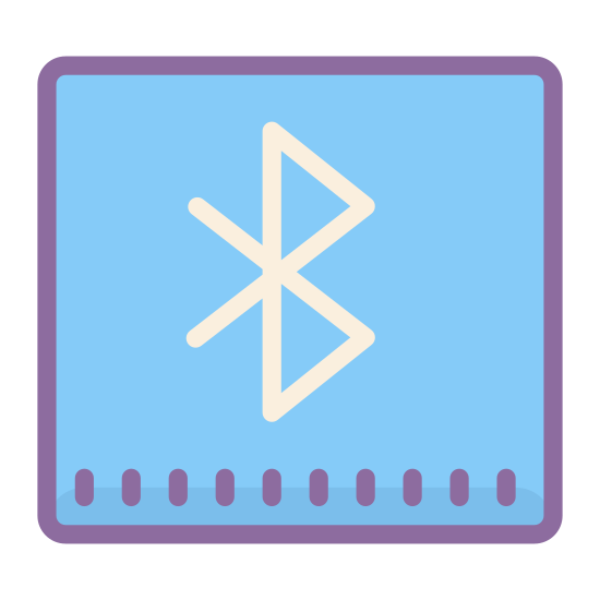 Bluetooth icon. The icon is the Bluetooth company logo. The symbol is a combination of the old norse letters for 'B' and 'H' overlapping to form the symbol. The most prominent feature of the logo is the 'B' which resembles the standard English letter 'B' but is more acute and jagged.