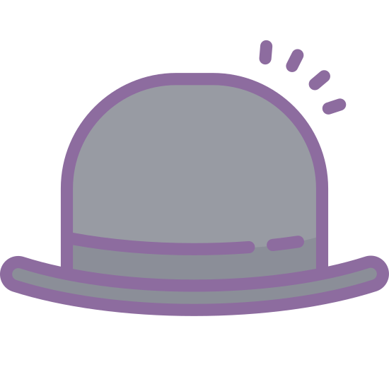Bowler Hat icon. It is a hat, much like a derby hat. The hat itself has a mostly rounded crown, although it does appear to be slightly flattened. The sides of the hat extend straight down from the rounded crown onto the brim, which is fairly narrow and close in to the crown. The brim curls up slightly at the sides.