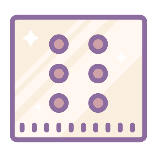 Braille icon. There are three rows each consisting of two identical circles. The circles are all evenly spaced out. It looks like the 6 side of a 6 sided die. there are no other shapes present