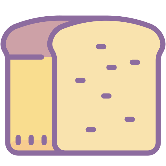 Bread icon. This icon is a elongated circle with little nodes going across the top to represent the folds of the dough in the bread making process