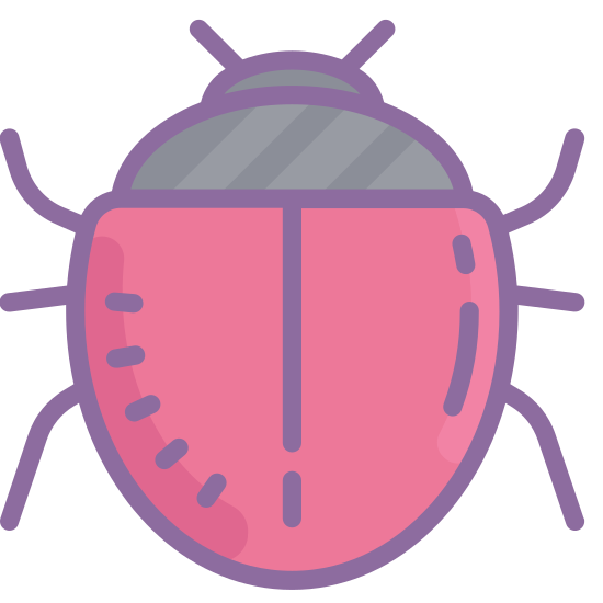 Błąd icon. This icon is oval with legs on the sides in the shape of a bug. It has six legs and a head with what looks like one eye at the top.